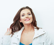 Portrait of Beautiful Woman. isolated white background. Royalty Free Stock Images