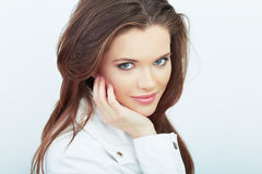 Portrait of Beautiful Woman. isolated white background. Stock Photography