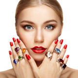 Portrait of beautiful woman with jewelry Royalty Free Stock Photo