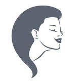 Portrait of beautiful woman for logo, only head Royalty Free Stock Photography