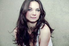Portrait of beautiful woman with long brown hair
