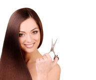 Portrait of Beautiful Woman with Long Brown Hair. Stock Photo