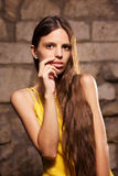 Portrait of beautiful woman with long hair Stock Photo
