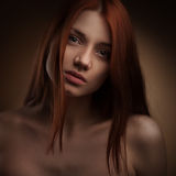 Portrait of Beautiful Woman with Long Hair Stock Photography