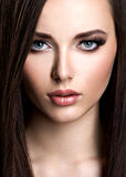 Portrait of beautiful woman with long straight brown hair Royalty Free Stock Image