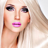 Portrait of  a  beautiful  woman with long white straight  hairs Royalty Free Stock Photos