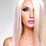 Portrait of  a  beautiful  woman with long white straight  hairs Royalty Free Stock Photography