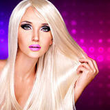 Portrait of  a  beautiful  woman with long white straight  hairs Stock Photos