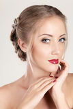 Portrait of a beautiful woman. With make up and hairstyle Stock Photos