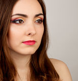 Portrait of beautiful woman with make-up. Portrait of beautiful nude woman with creative make-up Royalty Free Stock Image