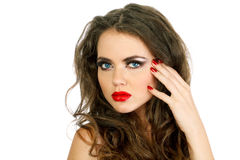 Portrait beautiful woman with make up, red lips Royalty Free Stock Photo