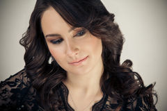 Portrait of beautiful woman with makeup and evening hairstyle Royalty Free Stock Photos