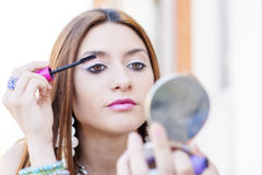 Portrait of beautiful woman makeup lashes. Stock Images