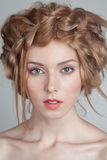 Portrait of beautiful woman with makeup and Royalty Free Stock Photos