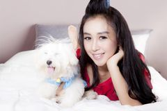 Beautiful woman and Maltese dog on bedroom Royalty Free Stock Photo