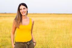 Portrait of beautiful woman in meadow Stock Photo