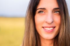 Portrait of beautiful woman in meadow Royalty Free Stock Images