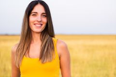Portrait of beautiful woman in meadow Royalty Free Stock Photos