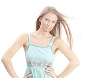 Portrait of beautiful woman model. With great magnificent hair over white Royalty Free Stock Images