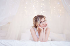 Portrait of beautiful woman model with fresh daily. Glamour portrait of beautiful woman model with fresh daily makeup and romantic wavy hairstyle. Fashion shiny royalty free stock photo