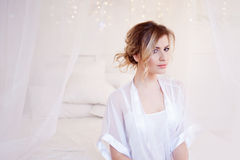 Portrait of beautiful woman model with fresh daily makeup and romantic wavy hairstyle. soft portrait. Glamour portrait of beautiful woman model with fresh daily royalty free stock images