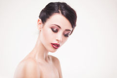 Portrait of beautiful woman model with fresh daily makeup Stock Photo