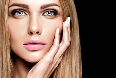 Portrait of beautiful woman model with makeup and clean healthy skin Royalty Free Stock Photos