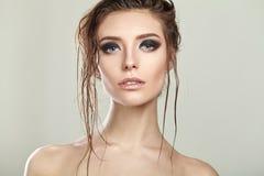 Portrait of beautiful woman model with smokey Royalty Free Stock Image