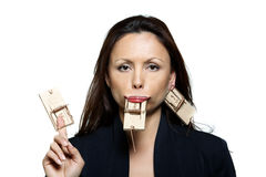 Portrait of beautiful woman with mouse traps Stock Images