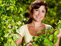 Portrait of beautiful woman on the nature Royalty Free Stock Photo