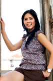 Portrait of Beautiful Woman at Outdoor. Portrait of Beautiful Asian Woman at Old Building Outdoor Stock Photography