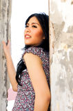 Portrait of Beautiful Woman at Outdoor. Portrait of Beautiful Asian Woman at Old Building Outdoor Stock Photos