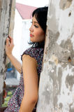 Portrait of Beautiful Woman at Outdoor. Portrait of Beautiful Asian Woman at Old Building Outdoor Royalty Free Stock Photo