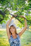 Portrait of beautiful woman. Outdoor in the park Royalty Free Stock Images