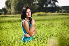 Portrait of the  beautiful  woman outdoors Royalty Free Stock Image