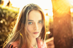 Portrait of beautiful woman outdoors Royalty Free Stock Images