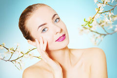 Portrait of beautiful woman over background with colorful  cherr Royalty Free Stock Images