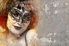 Portrait of beautiful woman over dirty wall with venetian mask, Stock Photos