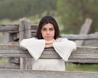 Portrait of Beautiful Woman in Park Stock Photography