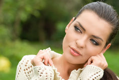 Portrait of beautiful woman in park Stock Image