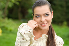 Portrait of beautiful woman in park Royalty Free Stock Photos