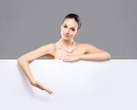 Portrait of a beautiful woman in a pearl necklace Royalty Free Stock Photo