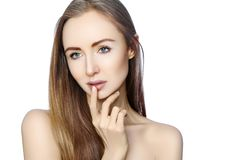 Portrait of beautiful woman with perfect clean skin. Spa look, Wellness and health Face. Daily Make-up. Skincare routine. On white background Stock Image