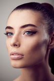 Portrait of beautiful woman with perfect skin and make-up. Portrait of beautiful girl with perfect skin and make-up Royalty Free Stock Images