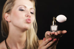 Portrait beautiful woman with perfume bottle Royalty Free Stock Photo