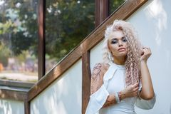 Portrait of a beautiful woman, photo shoot in the Park stock photos