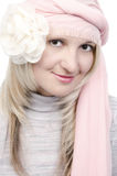 Portrait of the beautiful woman in pink turban Stock Photo