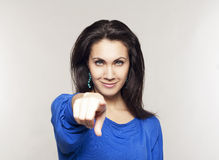 Portrait of beautiful woman pointing at you Royalty Free Stock Photo