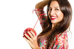 Portrait of beautiful woman with pomegranate. Stock Images