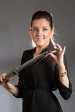 Portrait of beautiful woman posing in studio with saber Stock Photos